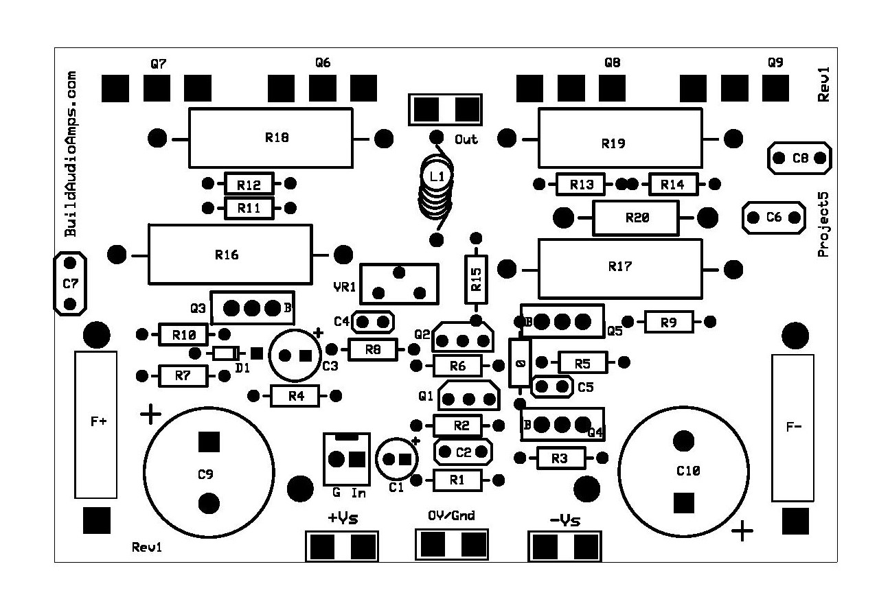 Project 5 Buildaudioamps 100w Mosfet Power Amplifier Project5 Silkscreen Layer Rev1 Page 001