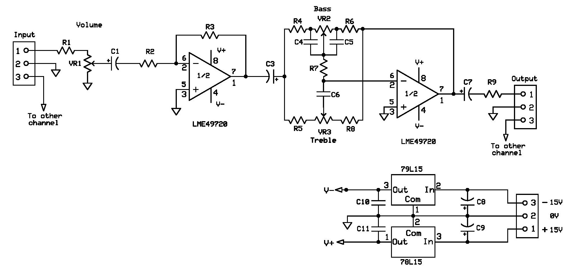 Bass And Treble Control Circuit Diagram For Headphone Amplifier From Redcircuits