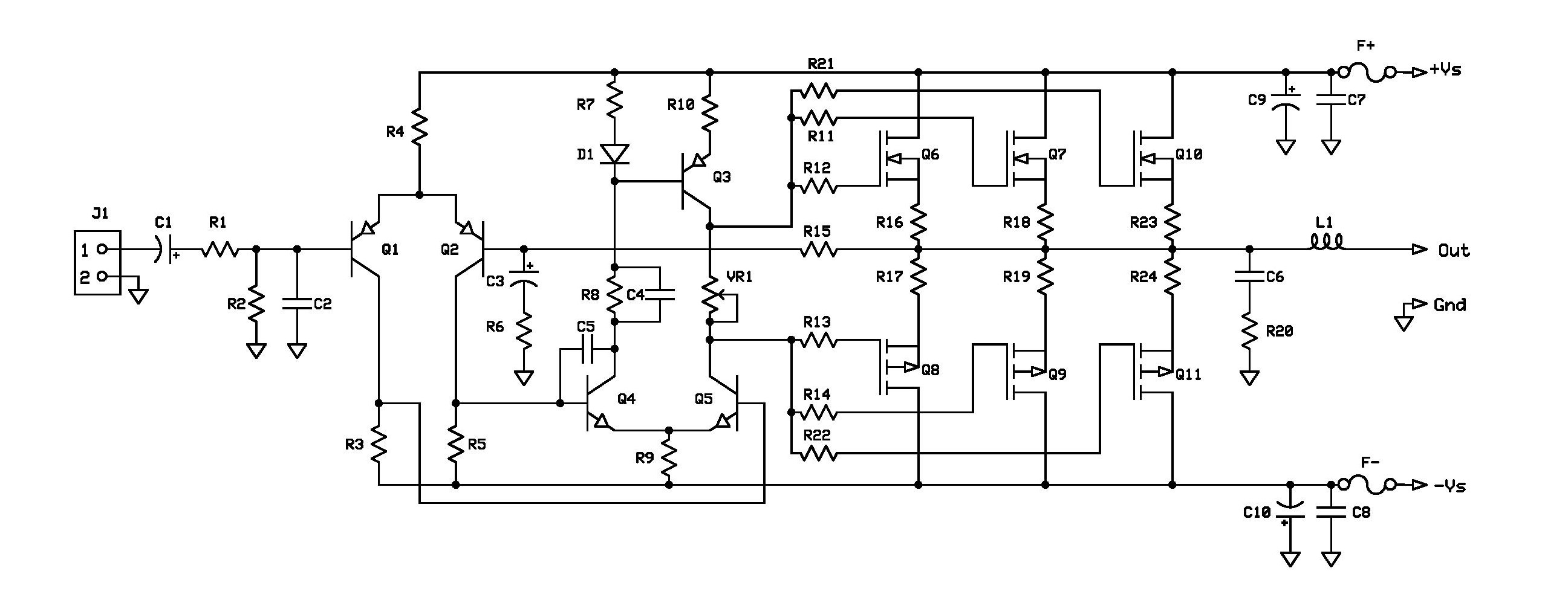 Project 11 Buildaudioamps Mosfet Circuit Design Amp T0220 Page 001 Schematic