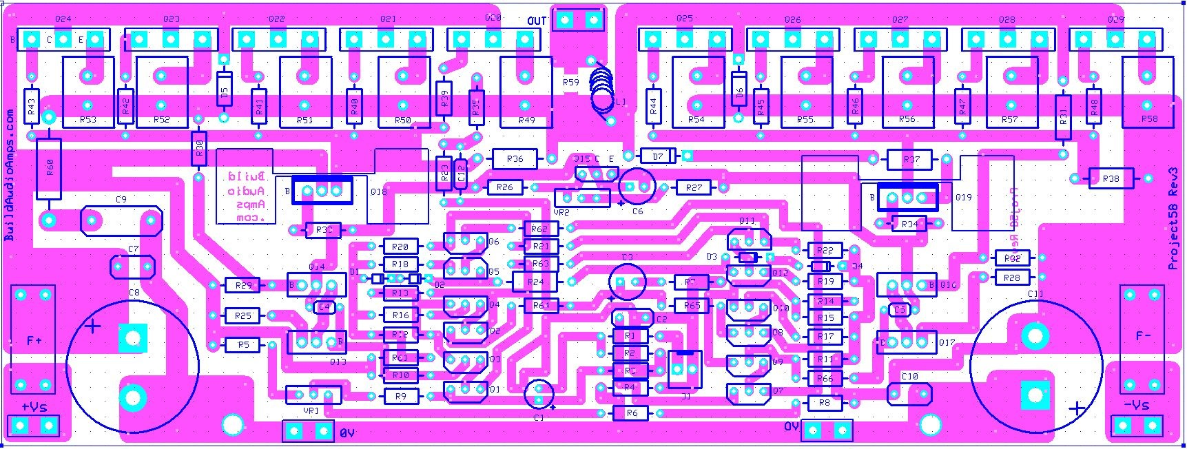 Project 58 Buildaudioamps Project 58 Buildaudioamps Power Amplifier Circuit Diagram With Pcb Layout And Policies...