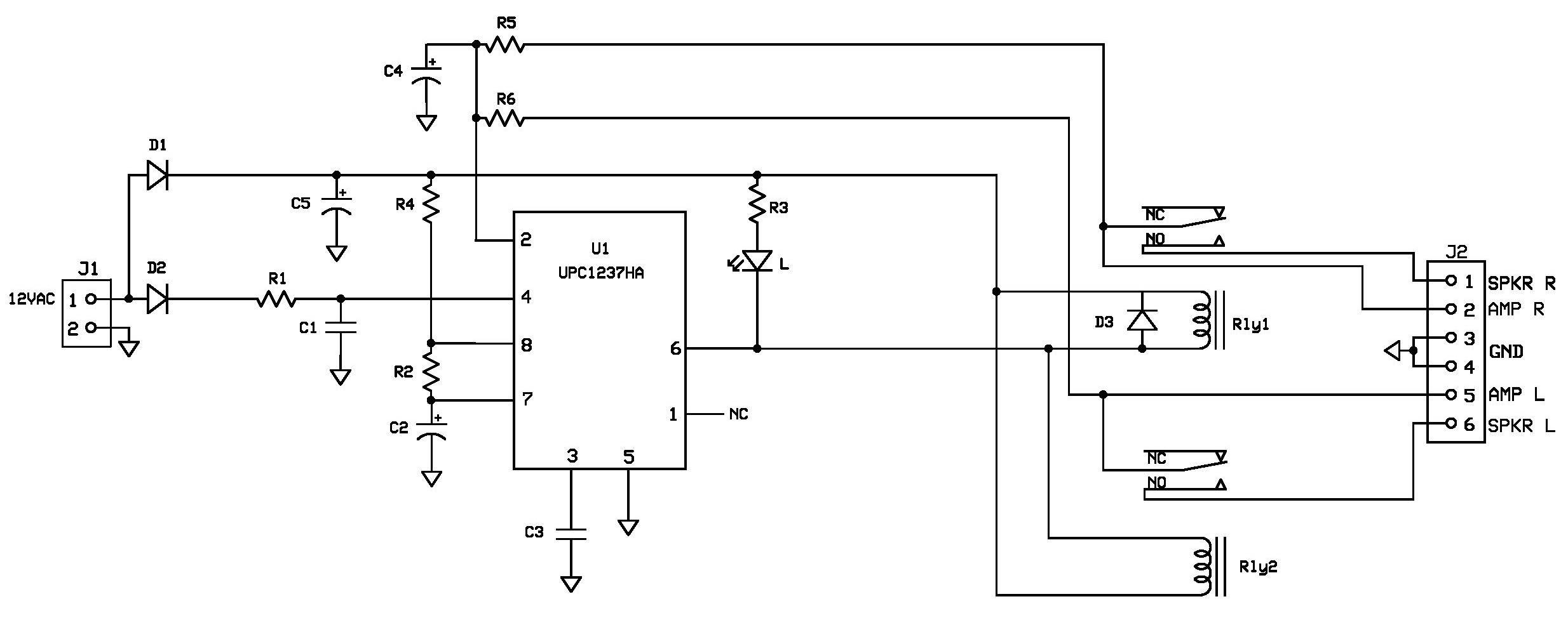 Other Audio Related Projects Buildaudioamps Circuit Diagram For Upc1237 Schematic Of Speaker Protection And Power On Delay Project